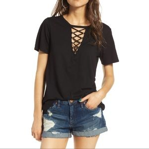 SOCIALITE black grommet lace-up knit tee t-shirt M